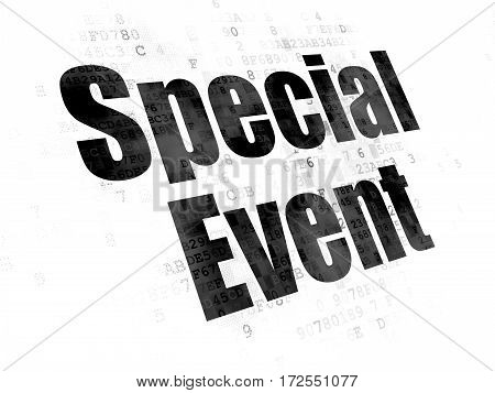 Business concept: Pixelated black text Special Event on Digital background