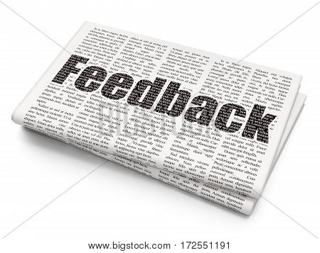 Business concept: Pixelated black text Feedback on Newspaper background, 3D rendering