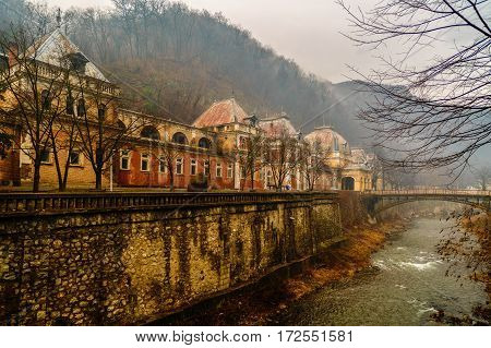 Old Abandoned Buildings In The Roman Spa Town In Romania, Mehedinti Herculane