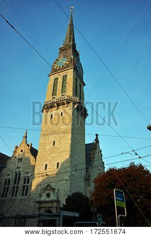 Autumn Landscape of St. Jacob church, Zurich, Switzerland
