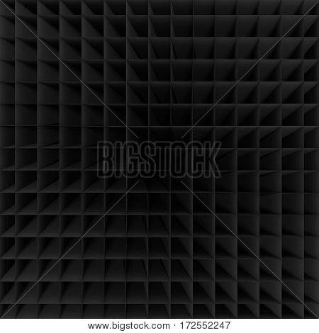 Black Empty Low Poly Geometric Grid Background 3d Rendering