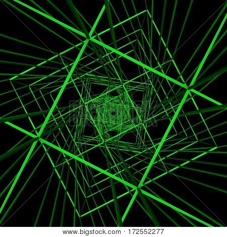 Technology Black Green Cyberspace 3d Rendering Illustration