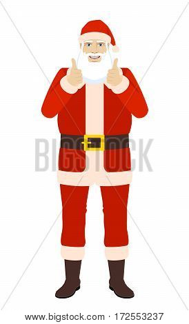 Smiling Santa Claus shows thumb up. Full length portrait of Santa Claus in a flat style. Vector illustration.