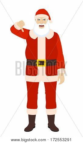 Santa Claus showing thumb down gesture as rejection symbol. Full length portrait of Santa Claus in a flat style. Vector illustration.