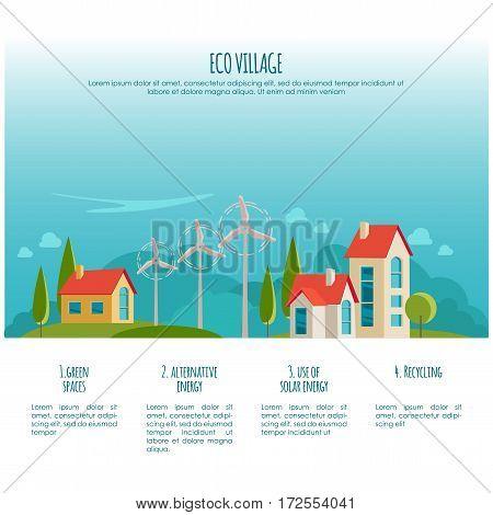 Eco urban landscape. Alternative energy. Wind power for your design