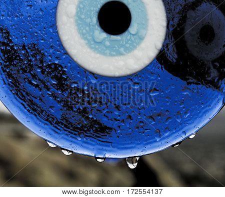 Evil Eye or Nazar amulet on white isolated background