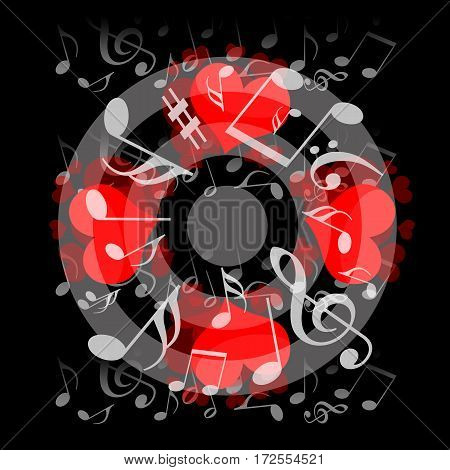Love hearts and musical notes on black background