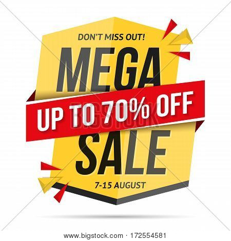 Mega sale banner, don't miss out 70 percents discount, vector eps10 illustration