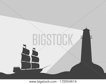 The ship on the water with a lighthouse. Black contour on a black background. Vector illustration