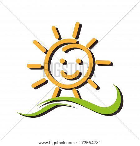 summer sun character icon vector illustration design