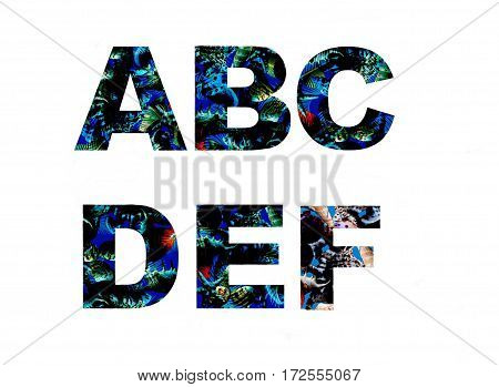 Alphabet decorative fonts covered palm leaves pattern. Tropical summer pattern letters set made of palm beach leaves and sea shells blue background