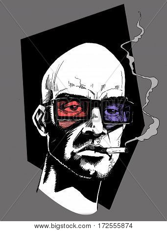 Line drawing of bald headed man with 3D glasses smoking cigarette