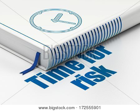 Time concept: closed book with Blue Clock icon and text Time For Risk on floor, white background, 3D rendering