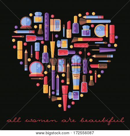 Cosmetic heart shape  vector cosmetics make up tools lipstic