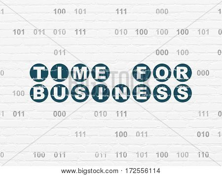 Time concept: Painted blue text Time for Business on White Brick wall background with Binary Code
