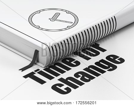 Timeline concept: closed book with Black Clock icon and text Time for Change on floor, white background, 3D rendering