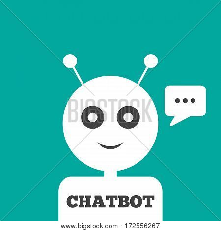 The head of the robot with antennas message in a rectangular speech bubble text Chatbot. Vector illustration. Blue white dark gray.
