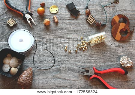 Tools and accessories for handmade and handcraft on the wood table
