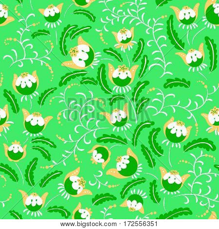 Abstract seamless floral pattern in a doodle style vector decorative background. Design with fantazy plants for textille wrapping paper
