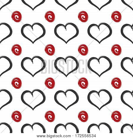 Repeated squiggles and hearts. Seamless pattern. Vector illustration. Red black white.