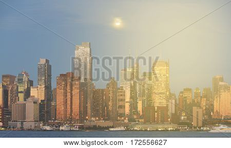 New York Night Skyline Cityscape Panoramic. New York By Night Cityscape Over Hudson River. Beautiful