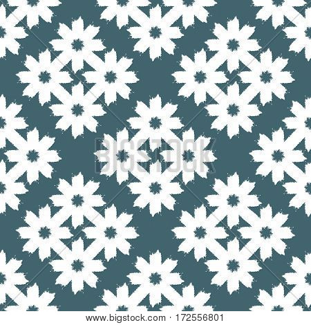 Ornament of abstract flowers drawn a rough brush. Seamless pattern. Vector illustration. Blue white.