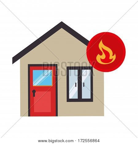 house with fire flame isolated icon vector illustration design