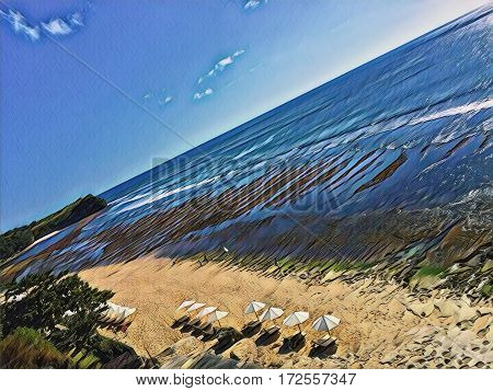 Beach with umbrellas and sea Digital illustration. Seaside view from air. Drone photo of perfect yellow sand beach with umbrellas. Resort beach landscape. Ocean panorama with huge waves for surfing