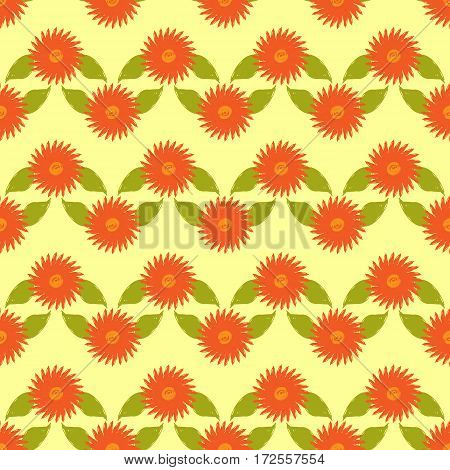 Floral ornament. Flowers with leaves painted rough brush. Seamless pattern. Vector illustration. Grunge. Yellow green orange color.