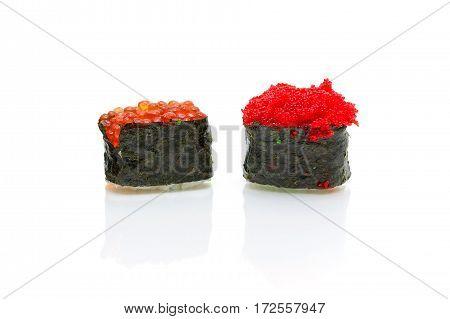 Japanese cuisine: Sushi on a white background. horizontal photo.