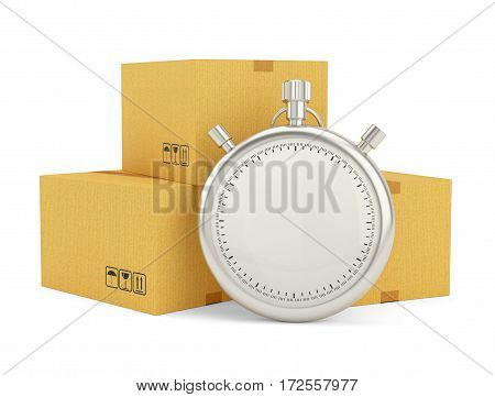 Express delivery. Stopwatch and package on white background. 3d illustration. Stopwatch with empty space for your content