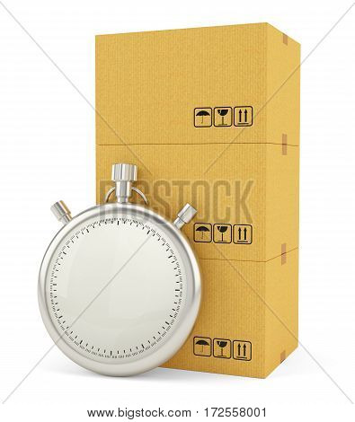 Express Delivery Concept. Cardboard Boxes with Stopwatch, isolated on white background. 3d illustration. Stopwatch with empty space for your content