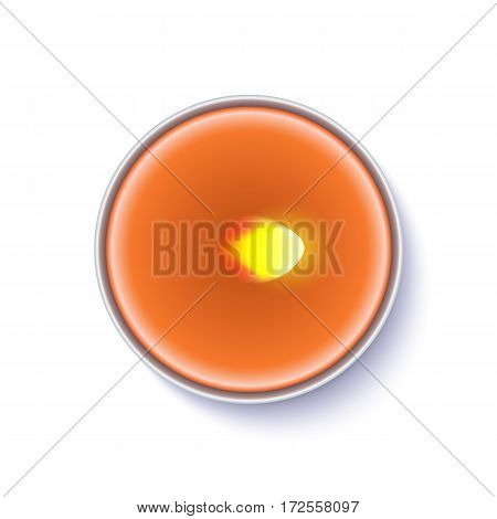 Realistic wax, flamed round candle in a metal case isolated on white backdrop. Top view on orange burning candle. Template for invitation or greeting cards. Vector illustration.
