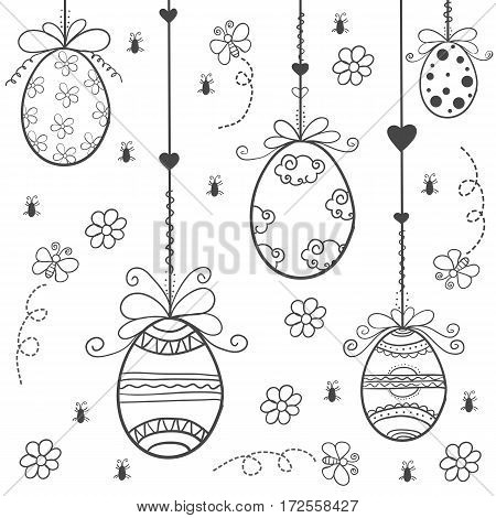 Happy easter with egg hand draw vector art