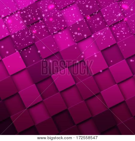 3d square mosaic. Modern colorful texture composed of tiles witn magic sparkle to it. Vector illustration eps 10