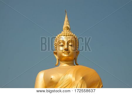 Golden buddha image in the thai temple