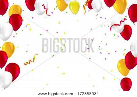 Festive background for greeting cards, presentations, commercial ad with color, inflatable balloons and streamers and confetti