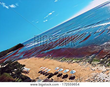 Beach with umbrellas and sea Digital illustration. Seaside view from air. Drone photo of perfect white sand beach with umbrellas. Island beach landscape. Ocean panorama with huge waves for surfing