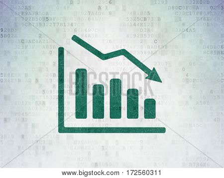 Advertising concept: Painted green Decline Graph icon on Digital Data Paper background