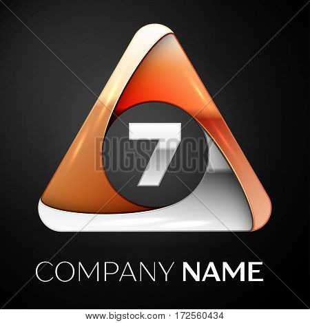 Number seven vector logo symbol in the colorful triangle on black background. Vector template for your design