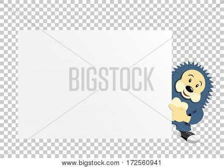Animal hedgehog which holds clear white template banner poster or paper for graphic and text messages on transparent background