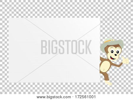 Animal monkey which holds clear white template banner poster or paper for graphic and text messages on transparent background