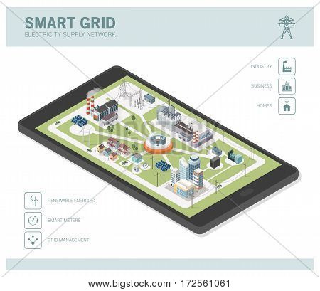Smart grid network power supply and renewable resources infographic with isometric buildings on a smartphone