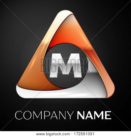 Letter M vector logo symbol in the colorful triangle on black background. Vector template for your design