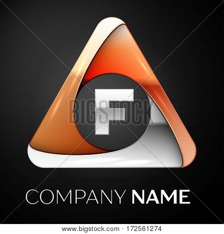 Letter F vector logo symbol in the colorful triangle on black background. Vector template for your design