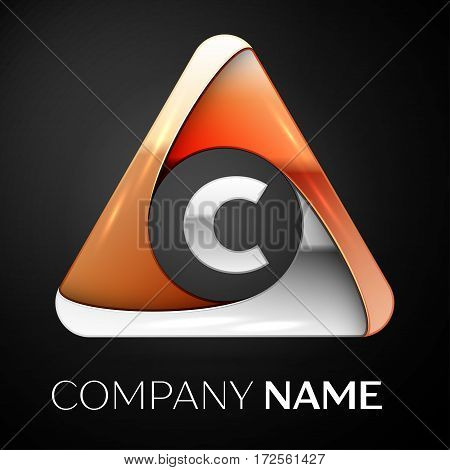 Letter C vector logo symbol in the colorful triangle on black background. Vector template for your design