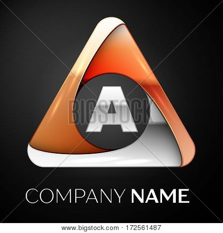 Letter A vector logo symbol in the colorful triangle on black background. Vector template for your design