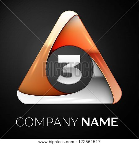 Number three vector logo symbol in the colorful triangle on black background. Vector template for your design