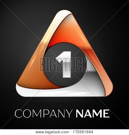 Number one vector logo symbol in the colorful triangle on black background. Vector template for your design