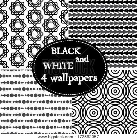 Set of 4 black and white seamless ornamental patten